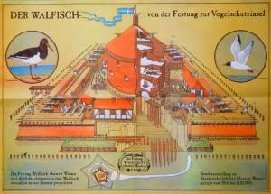 """Plakat zur Sonderausstellung """"Der Walfisch - von der Festung zur Vogelschutzinsel"""" des Stadtgeschichtlichen Museums Wismar 1993"""